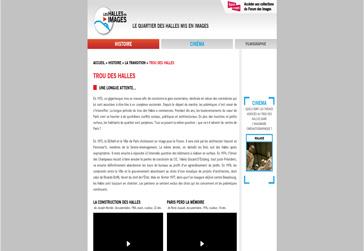 site web Quarter des halles mis en images en partenariat avec le forum des images